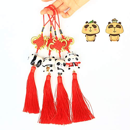 ETIUC Handmade 4PCS Set Chinese Knot Tassel Home Hanging Ornament Panda Tourist Souvenir Car Decor Pendant Chinese New Year Gift Spring Festival -
