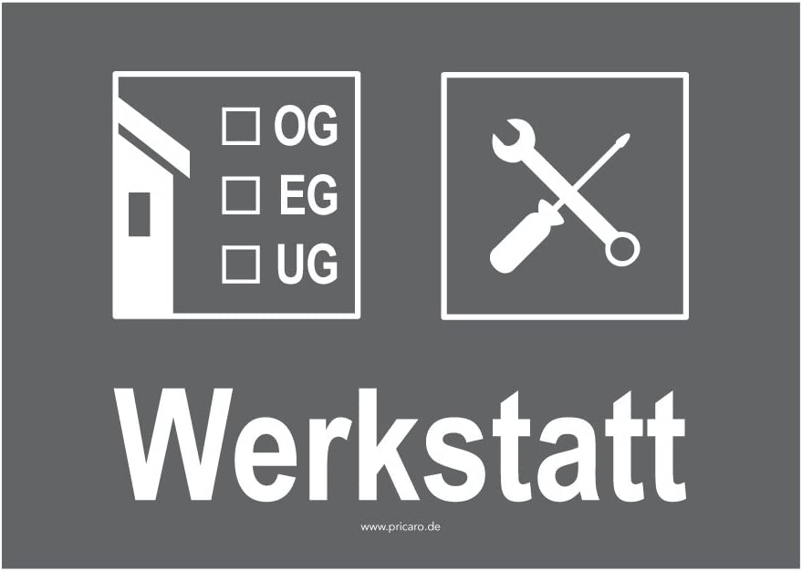 15 St/ück PRICARO Umzugsaufkleber Werkstatt grau A6