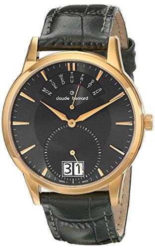 Claude Bernard Men's 34004 37R GIR Classic Gents Analog Display Swiss Quartz Grey Watch