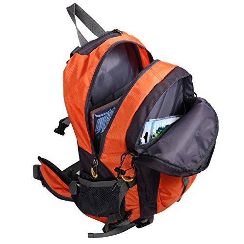 HWJIANFENG 40L Mochilas de Senderismo Hombre Portatil Impermeable de Nilon Mochilas de Excursion para Viajes Mochilas Unisex de Ciclismo Naranja