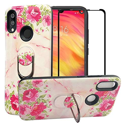 BestAlice for Xiaomi Redmi Note 7 / Note 7 Pro Case with Tempered Glass Screen Protector, Cartoon Hybrid Heavy Duty Protection Shockproof Defender Kickstand Armor Cute Cover, Rose ()