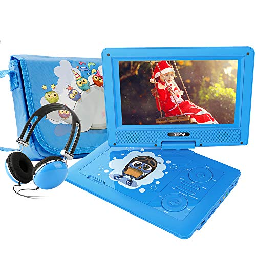 FUNAVO 9.5 Portable DVD Player with Headphone, Carring Case, Swivel Screen, 5 Hours Rechargeable Battery, SD Card Slot and USB Port (Blue)