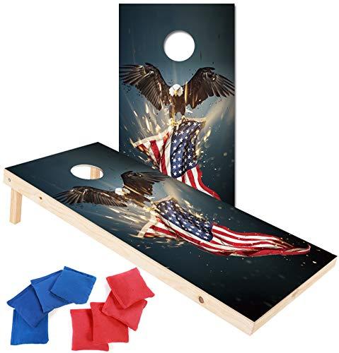 EXERCISE N PLAY Solid Wood Premium Cornhole Set,Portable Custom Regulation Size Cornhole Boards 8 Cornhole Bean Bags (4ftx2ft (Bald Eagle)