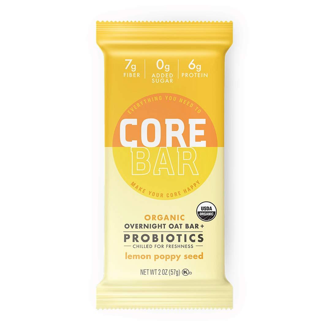 CORE Foods Organic Overnight Oat Bar + Probiotics, Gluten Free, non-GMO, Vegan, Kosher, Prebiotics, Lemon Poppy Seed, 2 oz, 16 Refrigerated Bars by CORE Foods