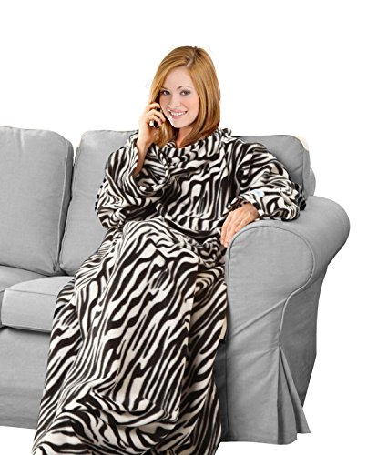 KC Caps Super Soft Fleece Blanket with Sleeves and Pockets, Super Cozy Microplush Wearable Throw for Women and Men Adult Comfy Throw Robe, 53