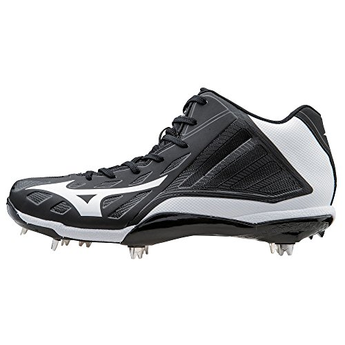 Mizuno Heist IQ Mid Cut Adult Men's Metal Baseball Cleat - Black & White (Men's 12.5)