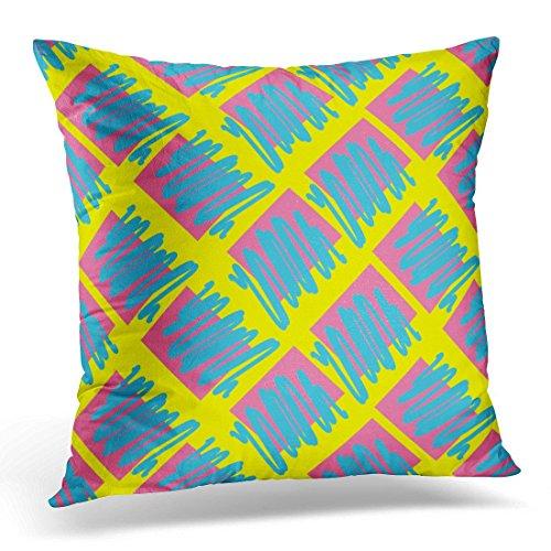 he nan gang wan ke ji you xia hngwkjyx Throw Pillow Covers Colorful Graphic Retro Vintage 80 Memphis Style of Pattern 90S Decorative Pillow Case Home Decor Square 18W X 18L Pillowcase