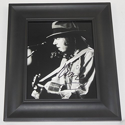 Neil Young Harvest Hand Signed Autographed B/W 8x10 Glossy Photo Gallery Framed Loa