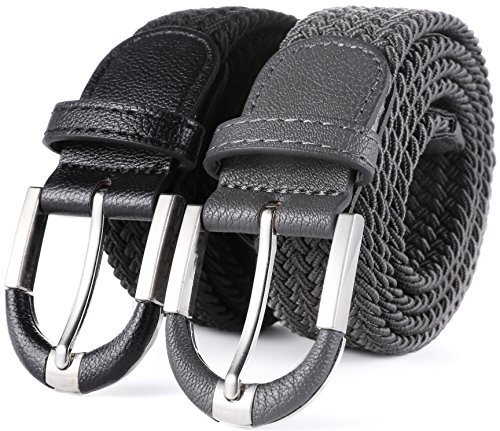 - Marino Braided Stretch Belt - Fabric Woven Belt - Casual Weave Elastic Belt for Men and Women - Black/Gray - M