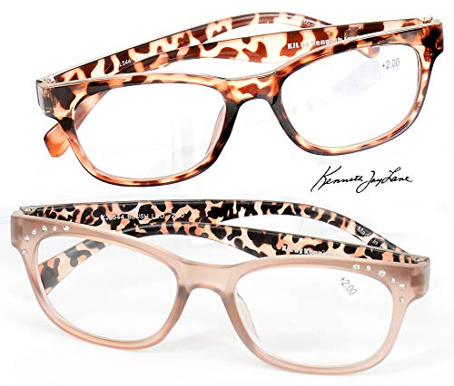 Kenneth Jay Lane Readers Leopard Crystal Accents +2.00 +2.50 Reading Glasses (+2.50)