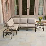 Hampton Bay Granbury 6-Piece Metal Outdoor Sectional with Fossil Cushions