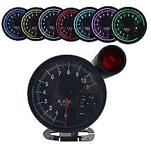 """Dewhel 5"""" inch 7 color LED 11K 12V Electronical RPM Tachometer Rev Counter Gauge With Red Shift Light Black Face"""