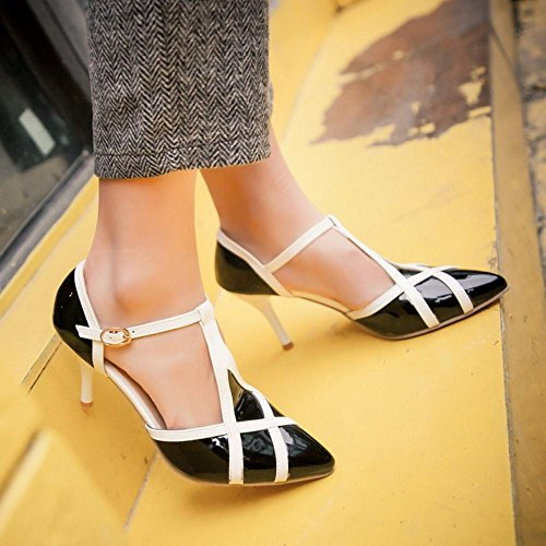 Coolcept Zapatos Mujer Verano Moda Multi Color Hebilla Al Tobillo Tacon Alto Bombas Zapatos Sandalias Negro