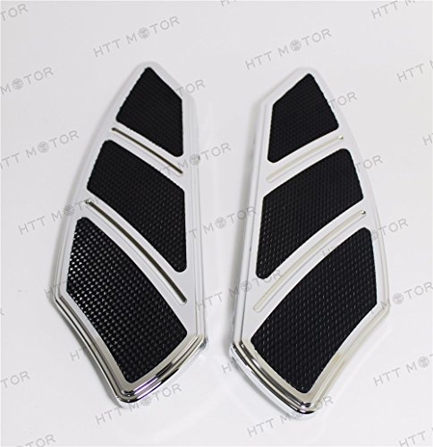 (HTTMT H1315- Groove Rider Front FootBoard Floorboard Compatible with Harley Touring Softail 84-15 Chrome)