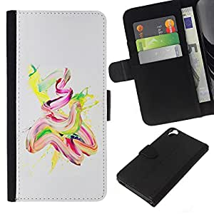All Phone Most Case / Oferta Especial Cáscara Funda de cuero Monedero Cubierta de proteccion Caso / Wallet Case for HTC Desire 820 // Watercolor Oil Paint Yellow Pink Finger Paint