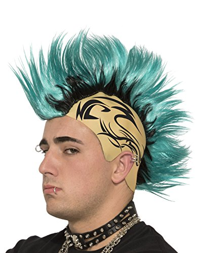 Mad Max Thunderdome Costume (Teal Spiked Mohawk Cap Tattoo Tattooed Scalp Costume Accessory Wig Black Green)
