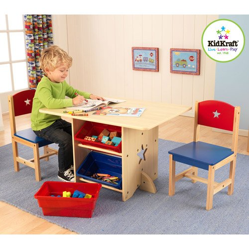 Star Table and Chairs Wood Furniture Set kids Room Activity Table with Storage Bins by MegaDeal