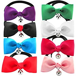 "YOY Handcrafted Pet Bow Tie - Adjustable Neck Tie 7.8""-14"" Fashion Jingle Bell Bowtie Dog Collar Necktie Kitty Puppy Grooming Accessories for Doggie Cat Pack of 8, Multi-Colored"