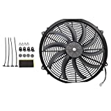 Madlife Garage Universal High Performance 16'' 12V Slim Electric Cooling Radiator Fan With Fan Mounting Kit (Black)