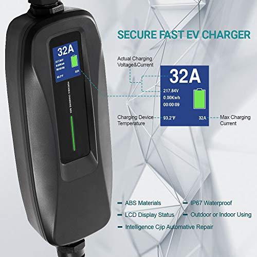 Morec 32 Amp EV Charger Level 2, NEMA14-50 26ft 220V-240V Upgraded Portable EV charging cable Station, Electric vehicle charger Compatible with All EV Cars. by Morec (Image #1)