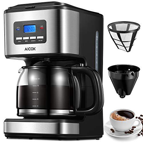 Aicok Cafetera, Cafetera Goteo, Cafetera Goteo Programable, Cafetera Goteo Filtro Permanente, Jarra de Vidrio, 1.5…