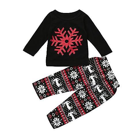 Kids Girls Clothes Set ML_Victor Baby Snowflake Print Tops Deer Pants Leggings 2Pcs Outfits Set - Top Snowflakes