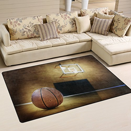 (Yochoice Non-slip Area Rugs Home Decor, Vintage Retro Grunge Basketball Sports Court Floor Mat Living Room Bedroom Carpets Doormats 60 x 39 inches)