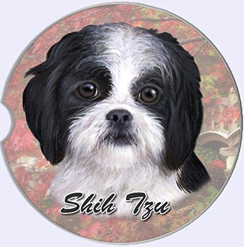 """E&S Pets Black & White Puppy Cut Shih Tzu Coaster, 3"""" x 3"""""""