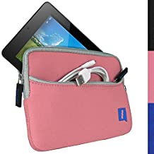 iGadgitz Pink Neoprene Sleeve Case Cover with Front Pocket for Acer Iconia One 7 B1-730HD & Iconia One 7 B1-750HD Tablet