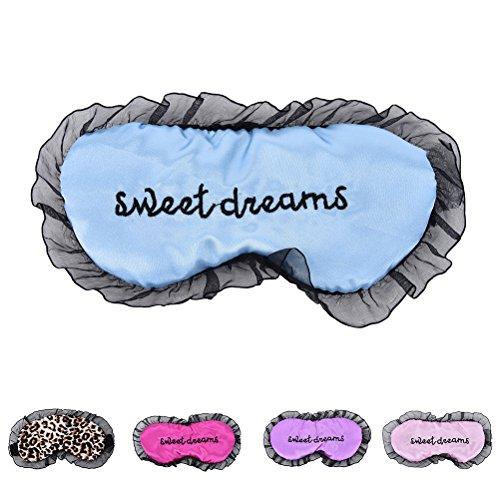 (Soft Sleeping Nap Eye Mask Adjustable Lace Eyeshade Nap Cover Blindfold Travel Rest Patch Blinder Satin Eye Shade Health Care Pink)