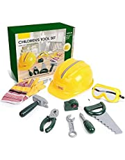 Veluoess 10 Pcs Kids Toy Tools Set with Real Tools,Pretend Play Toy Construction Tools Kit with Hard Hat,Tape Measure and Hand Tools Accessories,STEM Playset Toddler Toys Kit for 3 4 5 6 7 Years