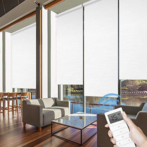 Graywind Motorized Roller Shades 60% Blackout Light Filtering Window Shades Cordless Window Blinds Freestop Roller Blinds with Valance for Smart Home and Office, Customized Size, Jacquard White