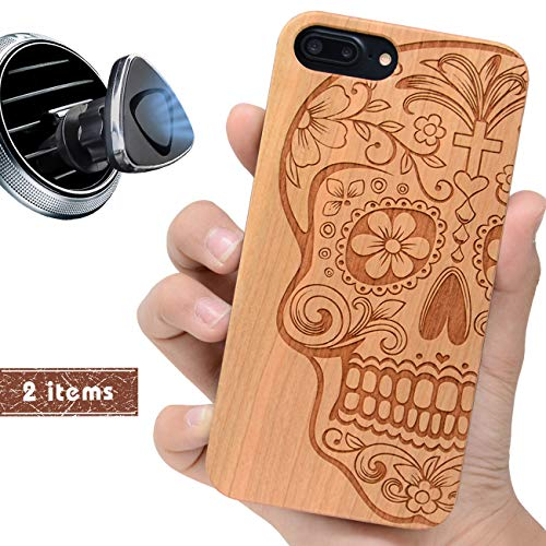 (iProductsUS Skull Phone Case Compatible with iPhone 8, 7, 6/6S and Magnetic Mount-Wood Cases Engraved Cool Sugar Skull, Built-in Metal Plate, TPU Rubber Shockproof Protective Cover (4.7 inch))