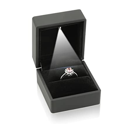 Wedding Ring Box.Geff House Engagement Jewelry Ring Box With Led Light Black