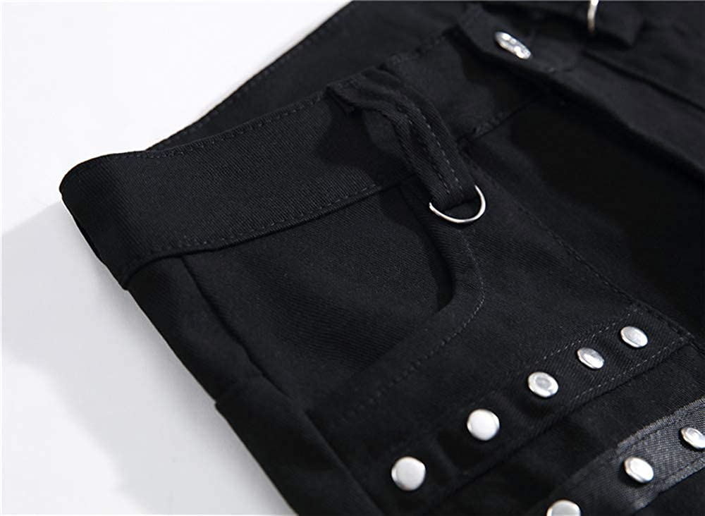 Allonly Mens Stylish Slim Fit Horn Chain Stretch Jeans Pants with Zippers and Rivets