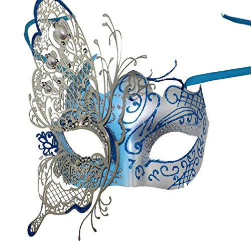 [Masquerade Mask Party Mask Rhinestone Metal Cosplay Half Face Venetian Mask (Blue)] (Blue Mardi Gras Mask)