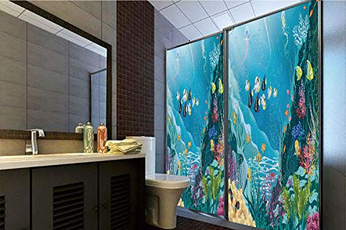 (Horrisophie dodo 3D Privacy Window Film No Glue,Ocean Decor,Underwater Landscape with Tropical Fish and Algae Polyps Descriptive Nautical Image,Multi,47.24