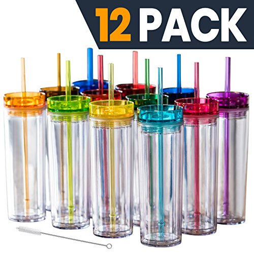 12 Colored Acrylic Tumblers with Lids and Straws | Skinny, 16oz Double Wall Clear Plastic Tumblers With FREE Straw Cleaner & Name Tags! Reusable Cup With Straw - Bulk Insulated Tumbler, BPA FREE by STRATA CUPS