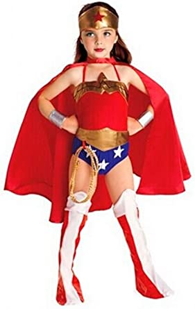 Girls Wonder Woman Costume Superhero Tutu Fancy Dress Kids Child Outfit UK