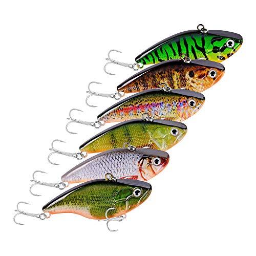 Kicsup Vibration Pencil Popper Lure Artificial Hard Bait Fishing Lure (Pack of 6 Fish Lure)