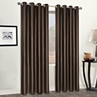United Curtain Faux Leather Heavy Window Curtain Panel, 52 by 95-Inch, Brown