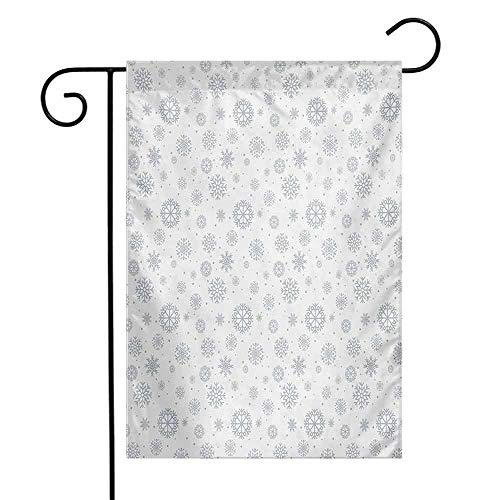 Mannwarehouse Snowflake Garden Flag Doodle Style Symmetrical Motifs of Winter Season on a Dotted Background Decorative Flags for Garden Yard Lawn W12 x L18 Pale Grey White