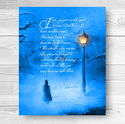 Narnia Art Print with Lampost in Blue Quotation Winter