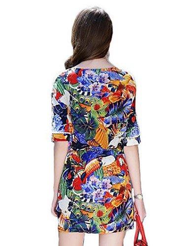 PU&PU Robe Aux femmes Ample Vintage,Imprimé Col Arrondi Au dessus du genou Polyester , blue-xl , blue-xl