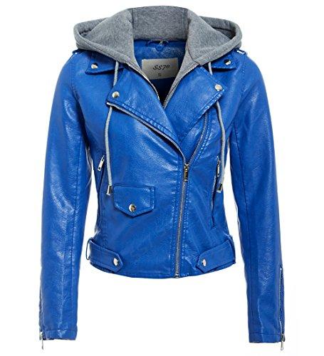 10 MOTARD NEUF Jersey 12 CUIR Bleu SS7 taille capuche 8 VESTE 24 POUR FEMMES FEMMES SIMILI I1x81dq7TU
