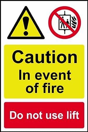 Caution en caso de incendio no utilizar para - con texto en ...