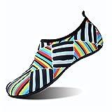 JIASUQI Woman Quick-Dry Water Shoes for Beach Pool Surf Red Blue US 9.5-10.5 Women, 8.5-9 Men
