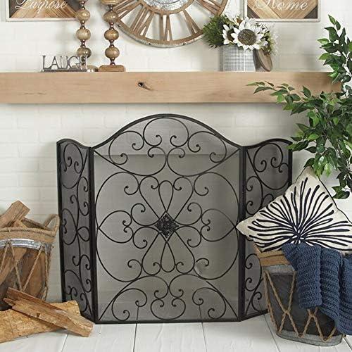 メッシュカバー付き折りたたみ式金属暖炉スクリーン、家庭用3パネルガス火/ログウッドバーナー用フリースタンディングスパークガード (Color : Black, Size : 66×30×90cm)