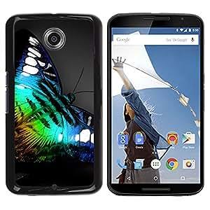 PC/Aluminum Funda Carcasa protectora para Motorola NEXUS 6 / X / Moto X Pro Iridescent Butterfly Blue Green Nature / JUSTGO PHONE PROTECTOR