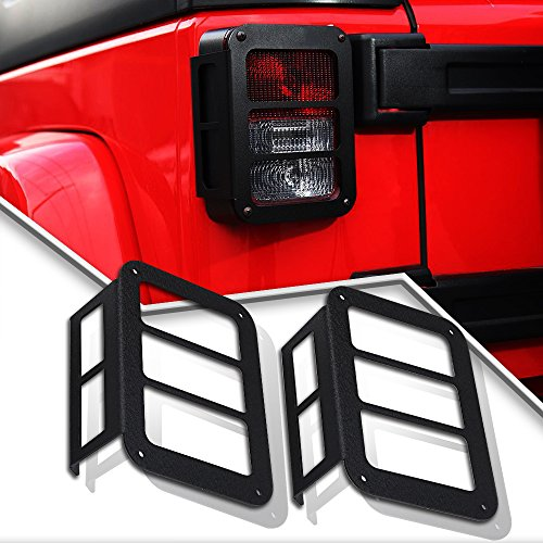 KEENAXIS Pair Metal Tail Lamp Tail Light Cover Trim Guards Protector for 2007-2017 Jeep Wrangler JK & JKU